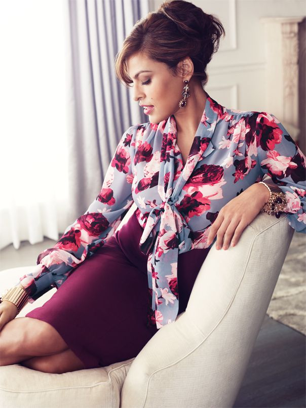 The Eva Mendes Collection Isabella Bow Blouse & Kristina Skirt. #ShopHV