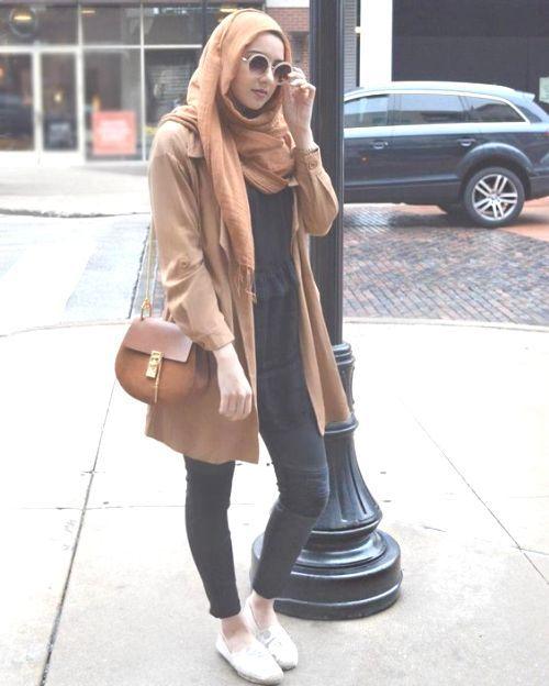 tan coat with hijab