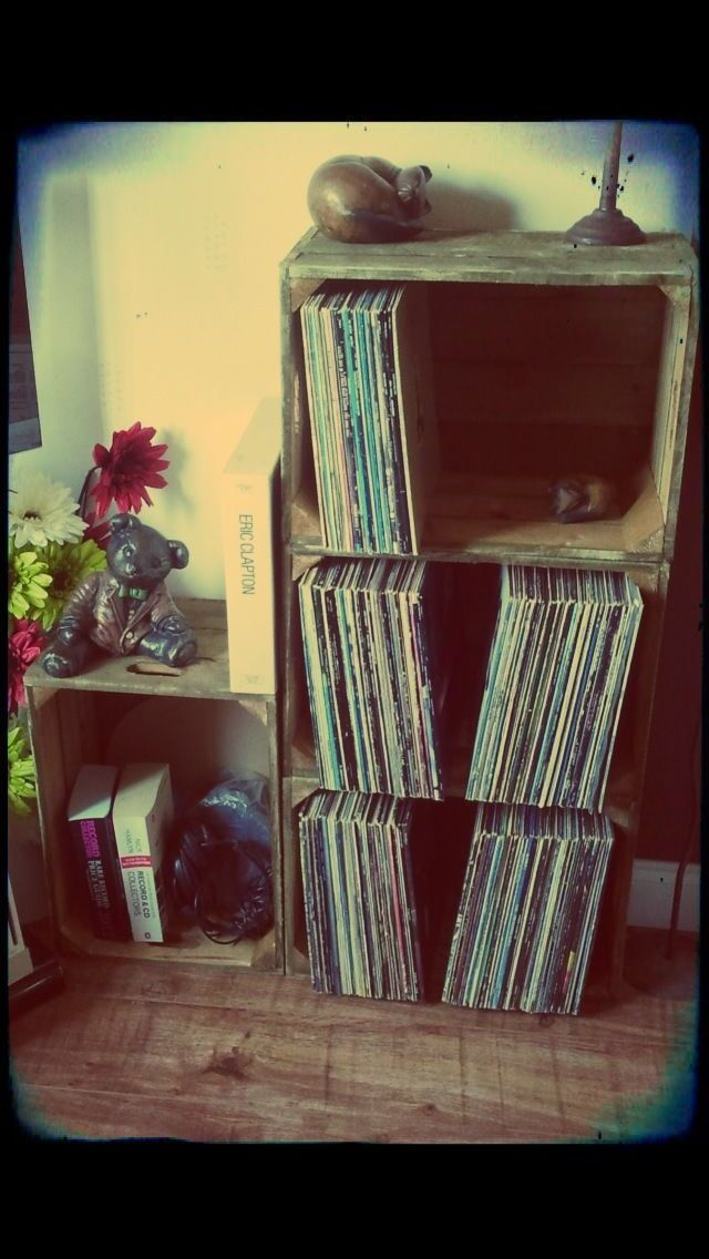 Apple boxes record storage for all of Matthew's vinyls