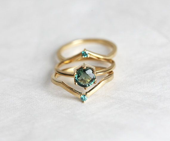 Green Sapphire Engagement Ring, Mint Sapphire Engagement Ring Set with Blue…