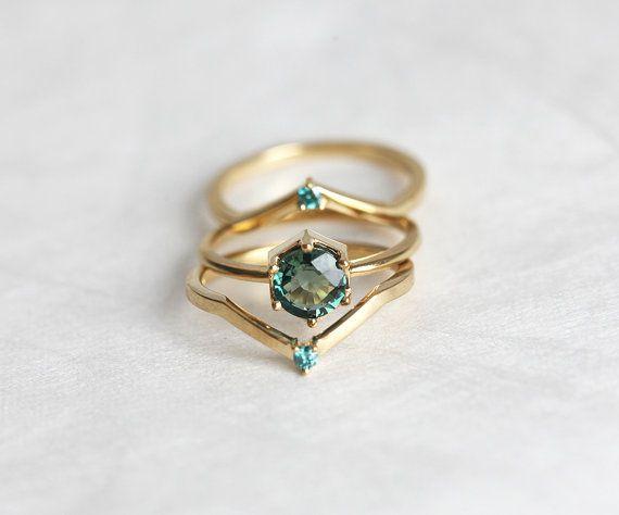 Anillo de compromiso de zafiro verde menta zafiro anillo de