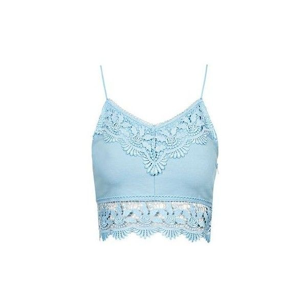 TopShop Petite Crochet Trim Bralet ($26) ❤ liked on Polyvore featuring tops, shirts, blue, strappy bralet top, crochet trim top, blue shirt, cotton shirts and strappy top