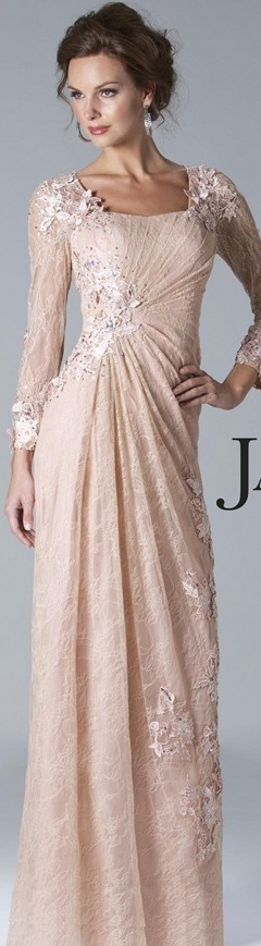 Janique Couture #long #formal #dress Absolutely beautiful. would wear it without the sleeves especially.