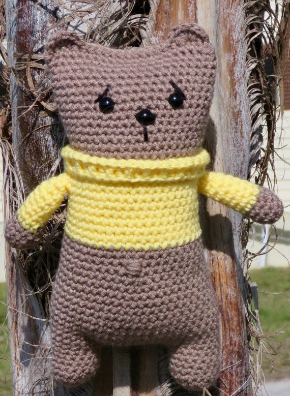 Snuggle Teddy Bear with Yellow Sweater  Teddy by TheBabyCrowTwo