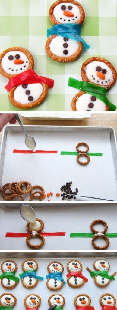 Frosty Snowman Pretzels   Click for 26 Easy Christmas Party Food Ideas for Kids   Easy Holiday Treats for Kids to Make