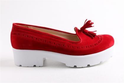 Doruk - Kadın Kırmızı Yaz Nubuk Eva Taban Ayakkabı