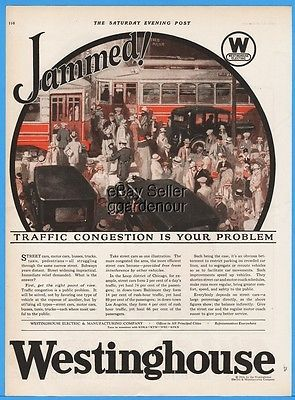 1924 Westinghouse Electric JAMMED Traffic Congestion Is Your Problem Bus Cars Ad