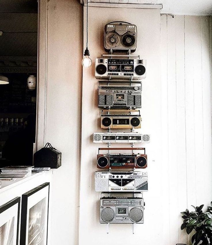 Use that old vintage tech around the home as a way to add a touch of retro industrial vintage design detail to your interior, office , work room, music studio or man cave , cool home style for muso dads