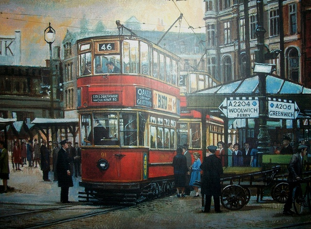 Woolwich market square 1950's Lovely painting of trams in Woolwich market square in around 1951.