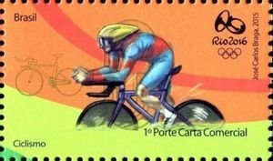 Sello: Cycling (Brasil) (Rio 2016 Olympic and Paralympic Games Series) Mi:BR 4215,WAD:BR 017.15,RHM:BR C-3424