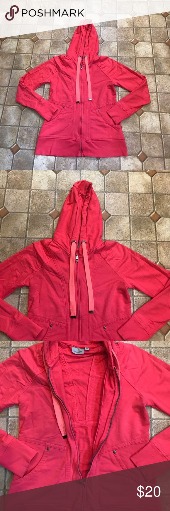 Athleta full pink zip up hoodie Small Women's full zip hoodie sweater size small. Solid pink in color, drawstring hood, long sleeve, excellent used condition- no rips/stains/holes etc. Athleta Sweaters