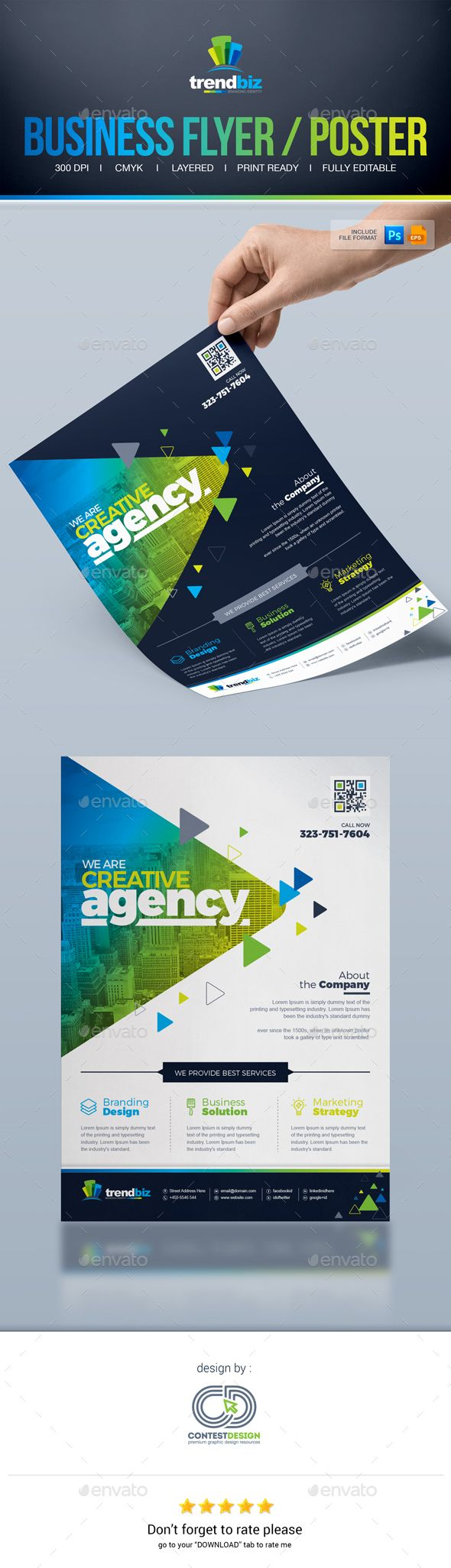 Corporate Business Flyer / Poster Advertising Template PSD, Vector EPS