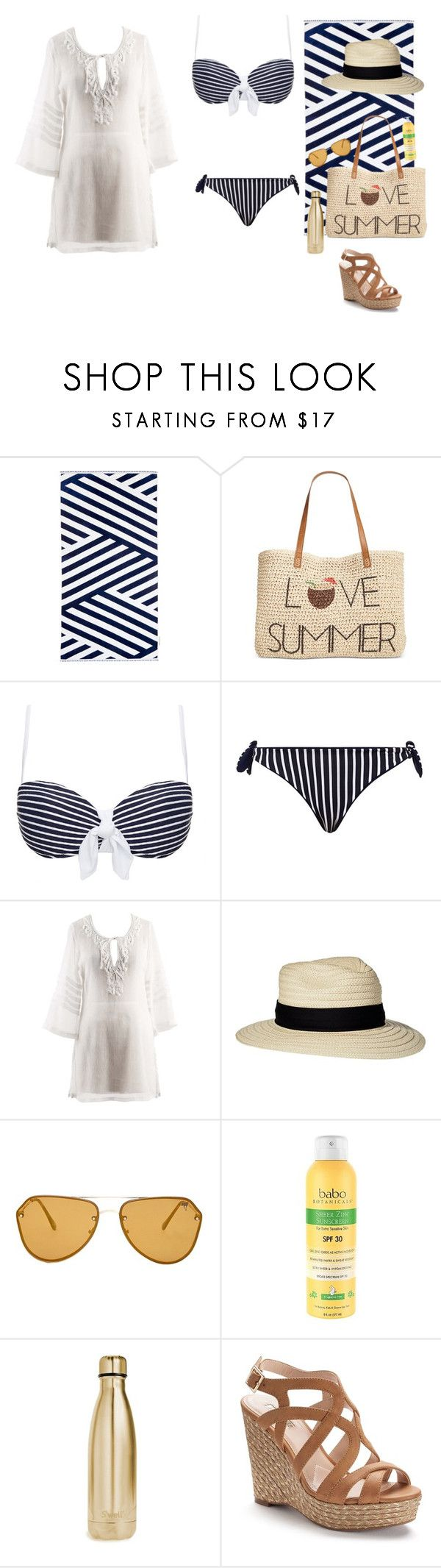 """""""beach yoongi"""" by spam-653 ❤ liked on Polyvore featuring Sunnylife, Style & Co., Heidi Klein, MaxMara, Columbia, Forever 21, Babo Botanicals, S'well and Jennifer Lopez"""