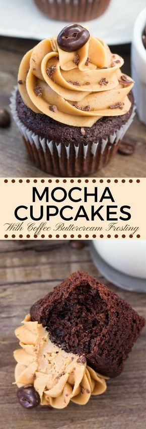 Moist, soft, fudgy chocolate cupcakes infused with coffee and topped with fluffy coffee frosting. These mocha cupcakes are perfect for true coffee lovers! #coffeefrosting #mocha #mochacupcakes