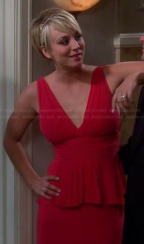 Penny's red peplum prom dress on The Big Bang Theory.  Outfit Details: http://wornontv.net/39881/ #TheBigBangTheory