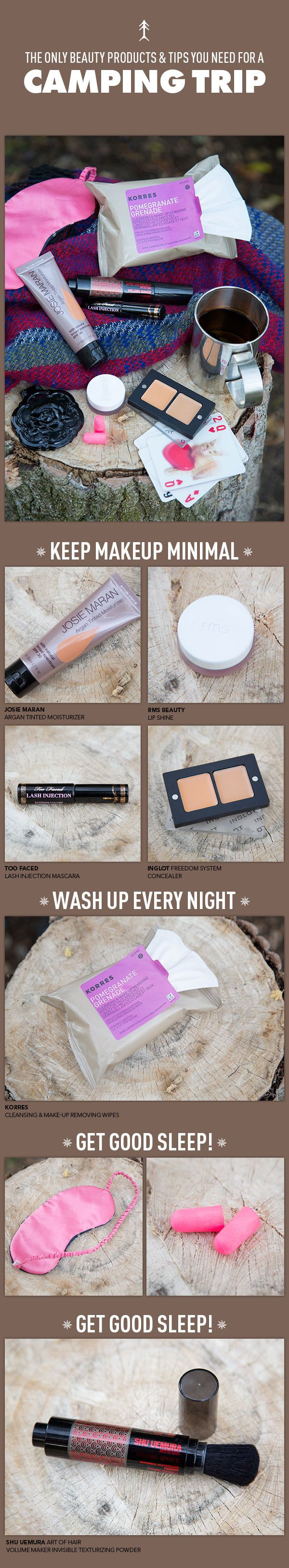 Beauty Products (and Tips!) for a Camping Trip... There's a difference between High maintenance, low maintenance, and NO maintenance.... Keep your photos Facebook friendly.