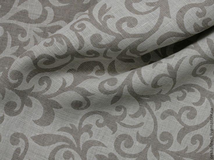 """Купить Ткань декоративная """"Злато"""" - серый, льняная ткань, ткань с узорами, льняная ткань с узорами"""