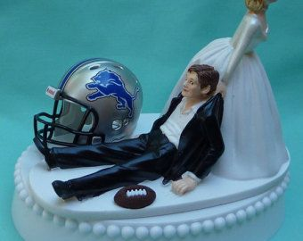 Wedding Cake Topper Detroit Lions G Football Themed w/ by WedSet