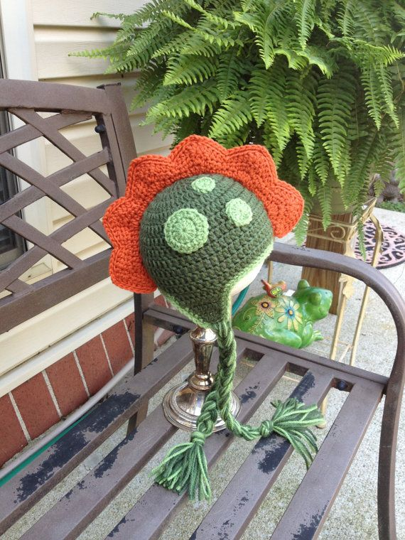 Crochet Dino Hat  12 to 36 months . Baby Animal Hats  by lisaswick, $21.00