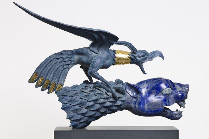 Даши Намдаков — Птица и тигр, 2014 Лазурит; точение, резьба; бронза; литье, патинирование Скульптуры