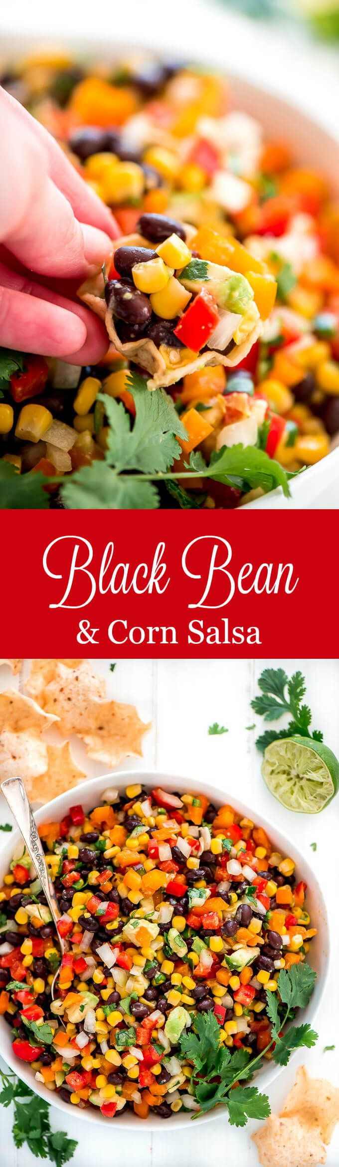 Black Bean and Corn Salsa is an easy 10 minute dip that is down right delicious and healthy. Serve it at your next party or for an afternoon snack.