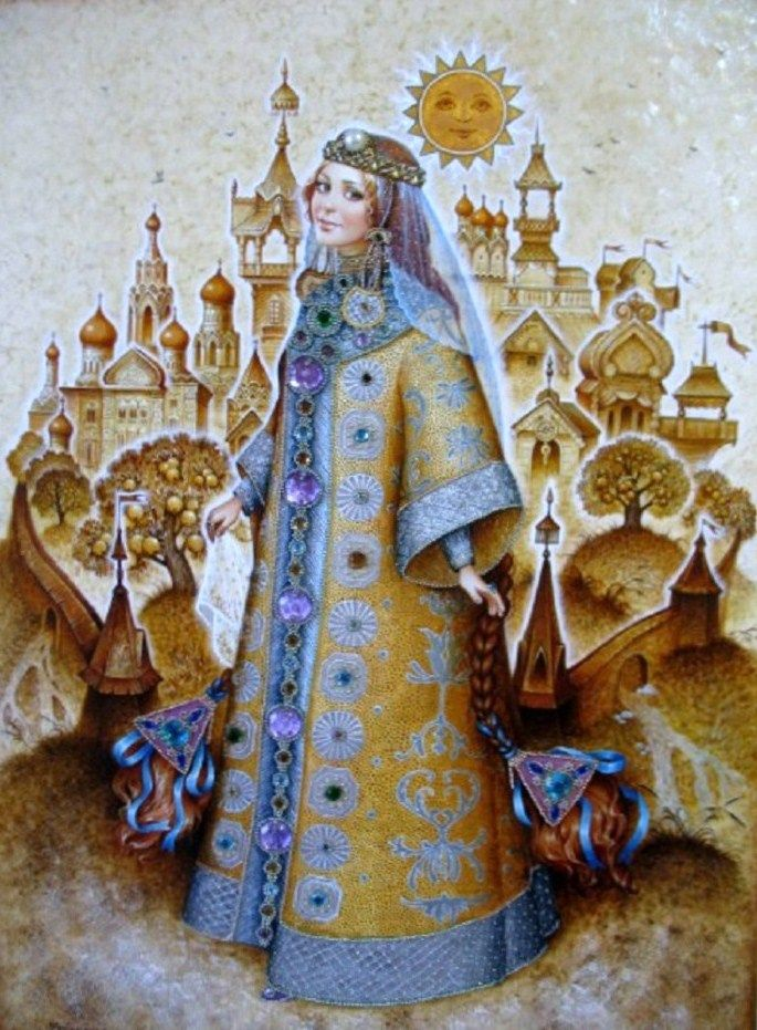 Russian lacquer miniature from the village of Fedoskino. Beautiful fairy princess.