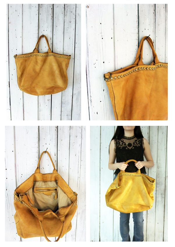 SHIP BAG 15  Handmade Italian Vintage light vintage yellow Leather Tote  with studs di LaSellerieLimited su Etsy