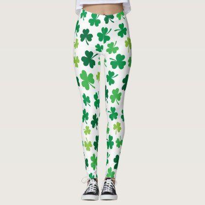 Irish Shamrock Themed   St. Patricks Day Leggings - st. patricks day gifts irish ireland green fun party diy custom holiday