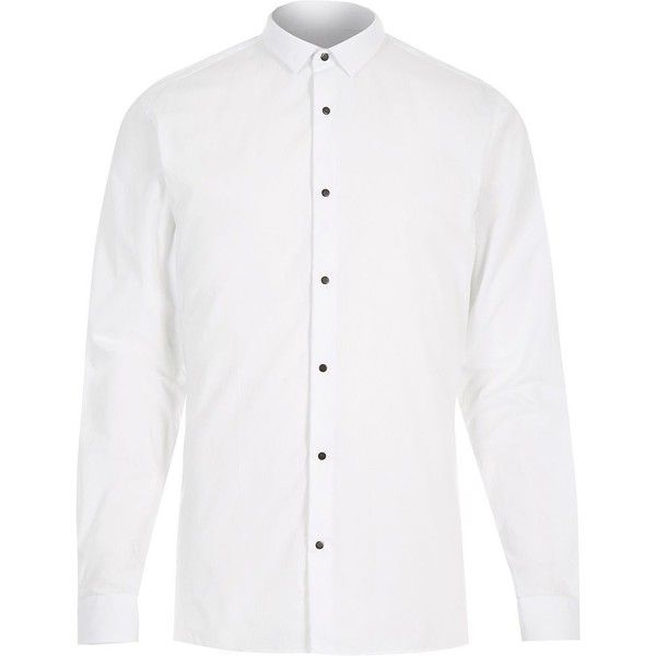 River Island White popper button slim shirt ($41) ❤ liked on Polyvore featuring men's fashion, men's clothing, men's shirts, men's casual shirts and shirts