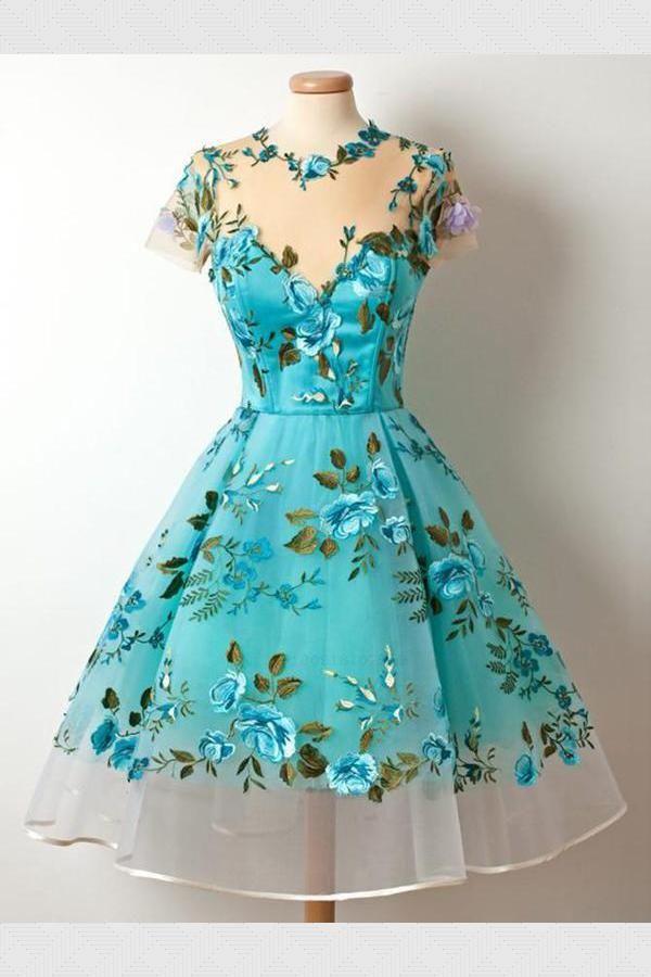 02c55d16809 Cheap Soft Blue Homecoming Dresses See Through Scoop Neckline Blue ...