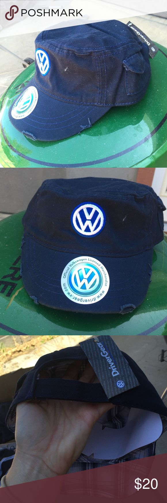 VW Volkswagen Military Style Hat NWT New With Tags (NWT) Navy Blue Cadet Hat with Btight Blue & White VW Logo. Straight from the official VW website. Adjustable Velcro back. Still has the tag and cardboard inside the brim. Volkswagen Accessories Hats