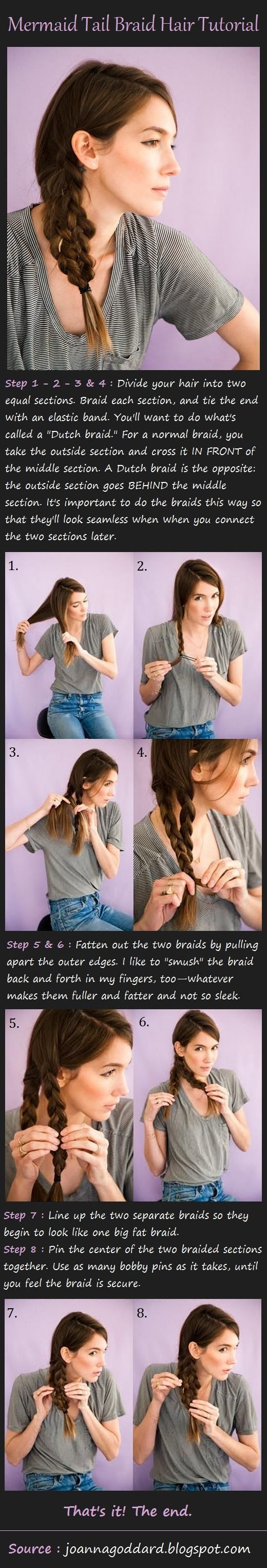 Mermaid Tail Braid Tutorial....or just take 3 braids and braid them together. Looks better