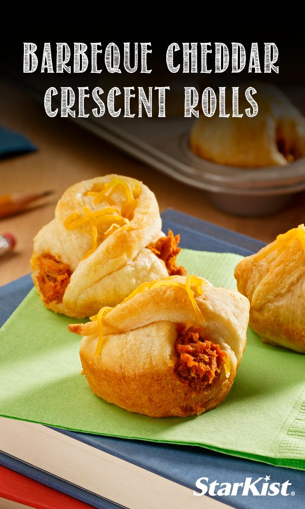 Our Barbeque Cheddar Crescent Roll Ups are a great after school snack for the kids!