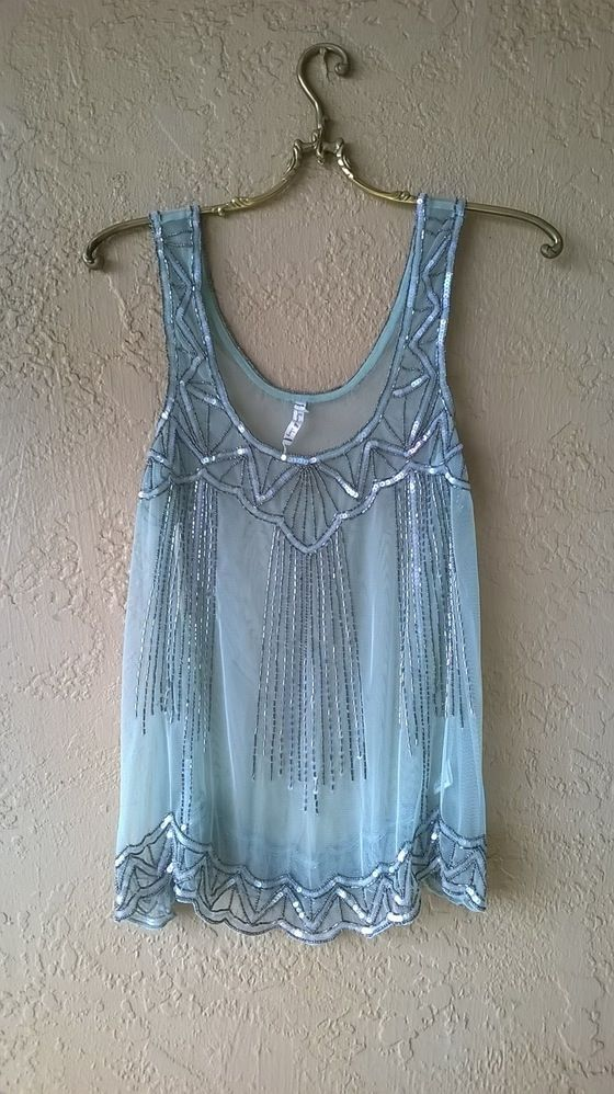 Image of Anthropologie Willow and Clay Mint Mesh Beaded Great Gatsby tunic