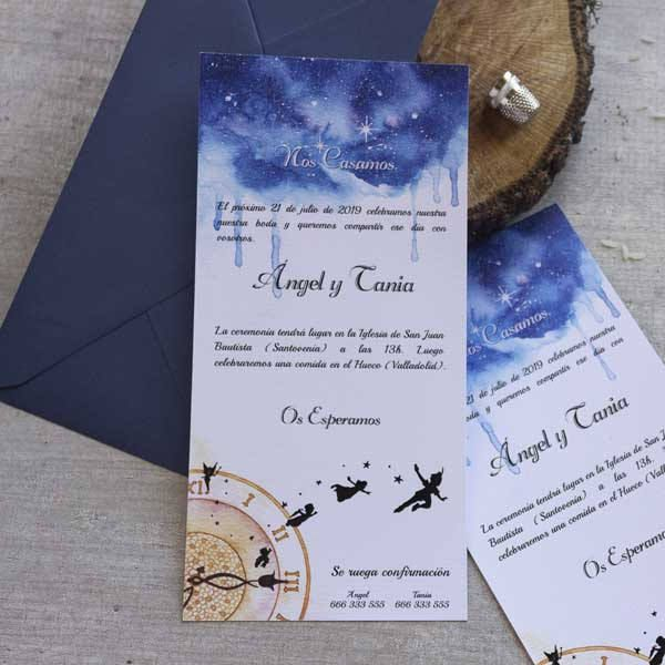 Invitación de boda | Peter Pan | Alargada de LapizCreativo en Etsy  #invitaciones de boda #weddinginvitationes #peterpan #disney