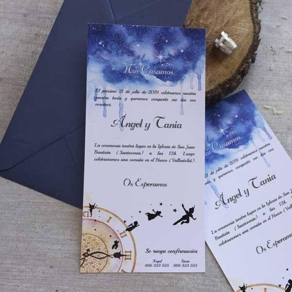Invitación de boda   Peter Pan   Alargada de LapizCreativo en Etsy  #invitaciones de boda #weddinginvitationes #peterpan #disney