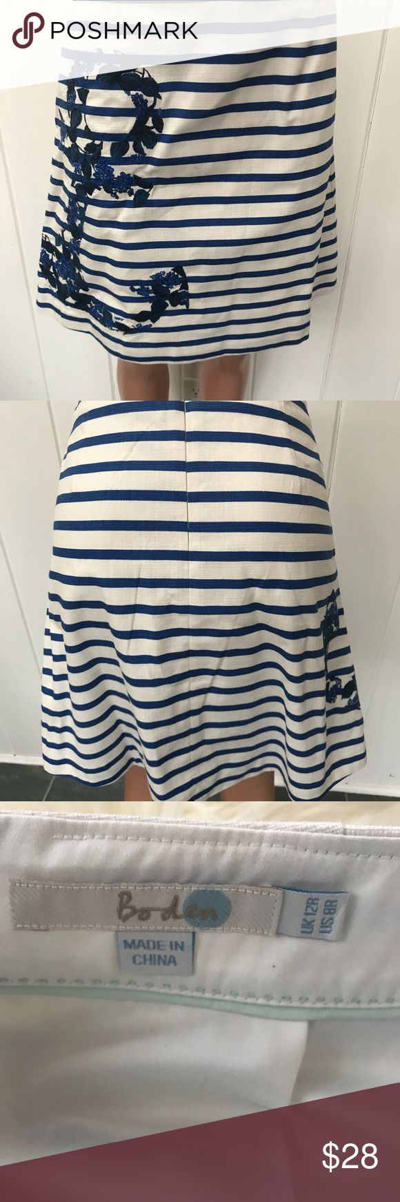 """Nautical skirt by Boden Very cute nautical skirt in size 8.  The skirt is 20.5 """" long  The waist is 31"""". Cute anchor on the front. Fully lined. Boden Skirts"""