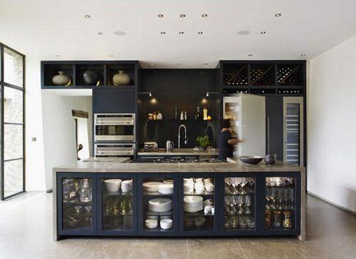 nice.: John Minshaw, Cabinets Storage, Blue Kitchens, Kitchens Islands, Glasses Cabinets, Glasses Doors, Open Kitchens, Kitchens Cabinets, Navy Kitchens