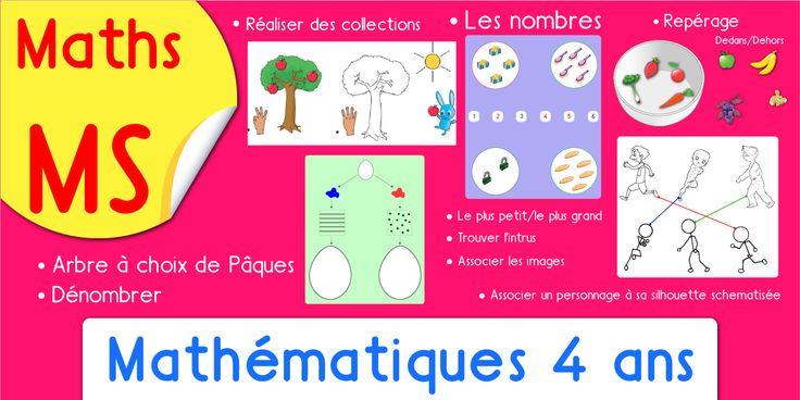 Exercice de maths en Moyenne Section, le dénombrement, la logique, le repérage. Tout le programme de maths 4 ans.