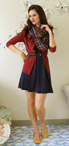 Warm cardigan and cute dress - perfect winter ensemble, just add decorative tights.