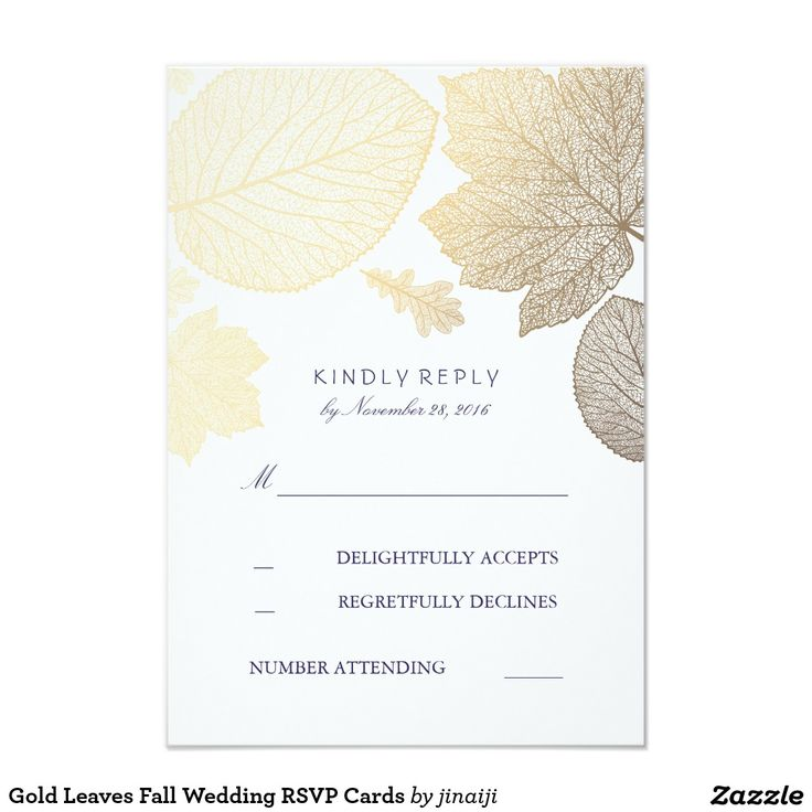 Gold Leaves Fall Wedding RSVP Cards Gold fall leaves elegant wedding reply cards with navy text
