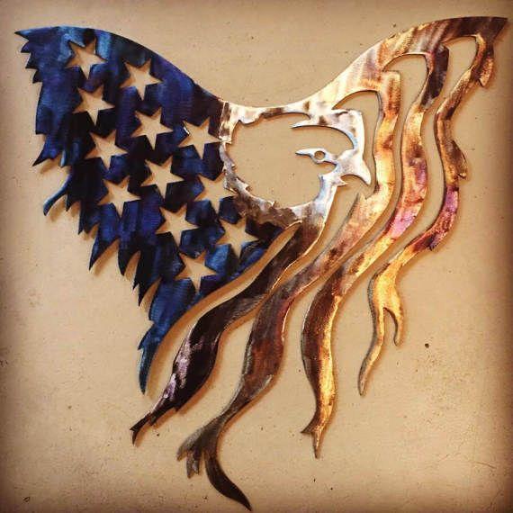 American Eagle Flag metal sign
