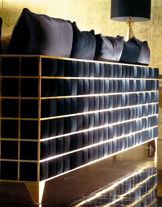 TL FURNITURE | DESIGN ARMCHAIR Designer Unique Chair with Goldleaf Grid Frame Filled with Upholstered Padded Squares