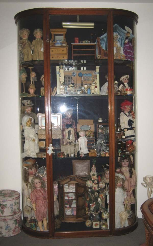 Antique American Mahogany Glass Display Doll Case Cabinet