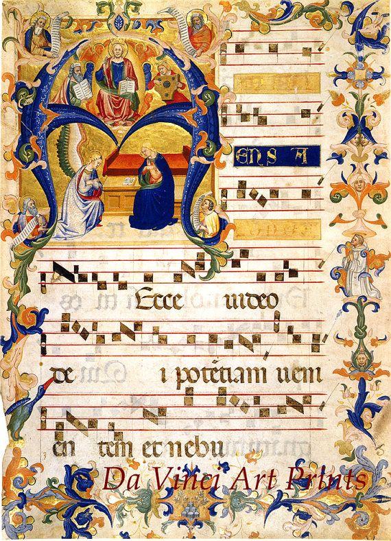 Kunstreproduktionen. Buchmalerei: Verkündigung in der anfänglichen A c. 1380 die. Feiner Kunstdruck
