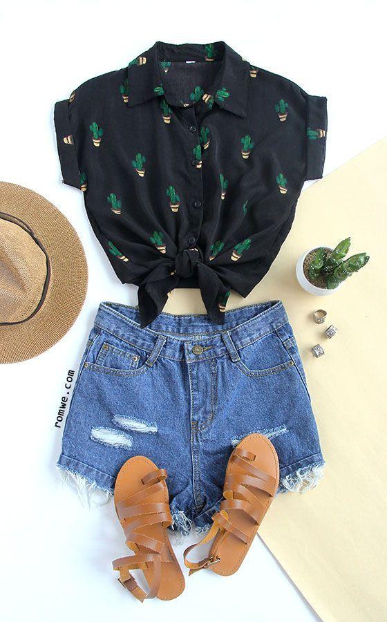 Black Buttons Front Cactus Print Chiffon Blouse with denim shorts and khaki sandals - rowme.com