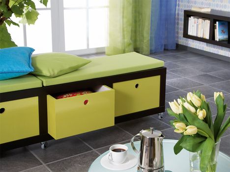 Cute Idea For Playroom   Storage Plus Seating!