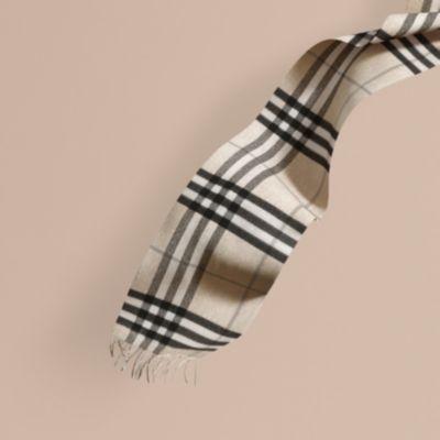 Классический шарф из кашемира в клетку Естественный Белый, Клетка | Burberry