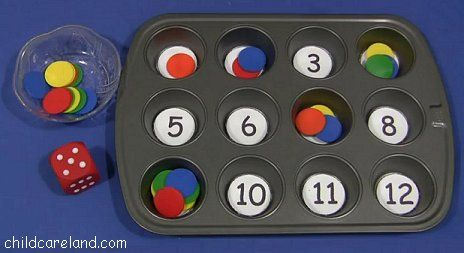 Muffin Tin Roll The Dice ... easy to set up in a math center. |Pinned from PinTo for iPad|