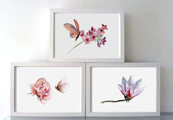 Roos vlinder en magnolia Aquarel  set van 3 Giclee door Zendrawing